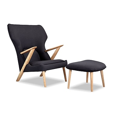 Kardiel Cub Lounge Chair and Ottoman; Urban Ink