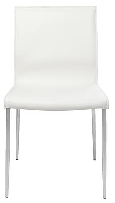 Nuevo Colter Genuine Leather Upholstered Dining Chair; White