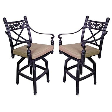 California Outdoor Designs Baldwin 27.25'' Bar Stool w/ Cushion (Set of 2)