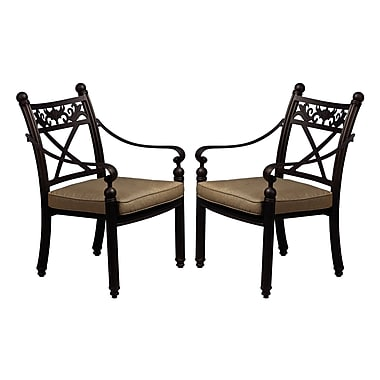 California Outdoor Designs Baldwin Stacking Patio Dining Chair w/ Cushion (Set of 2)