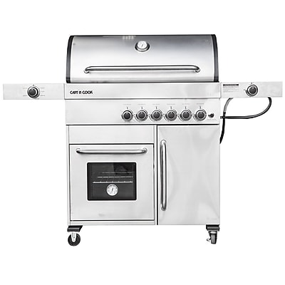 Barbeques Galore Captain Cook 5-burner Freestanding Gas Grill w/ Warmer; Natural Gas