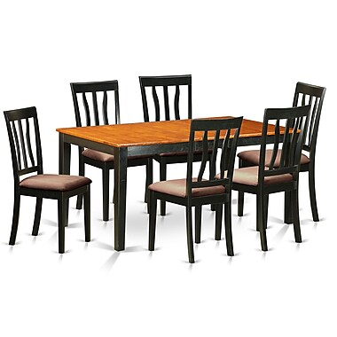 East West 7 Piece Dining Set; Microfiber Upholstery