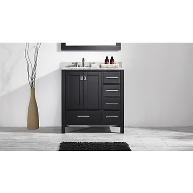 Eviva Aberdeen 36'' Single Transitional Bathroom Vanity Set; Espresso