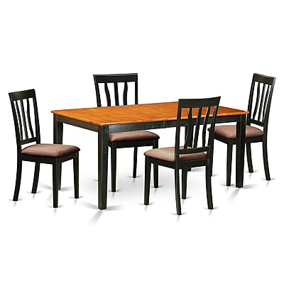 East West 5 Piece Dining Set; Microfiber Upholstery