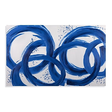Bassett Mirror Thoroughly Modern Blue Loops Painting on Canvas