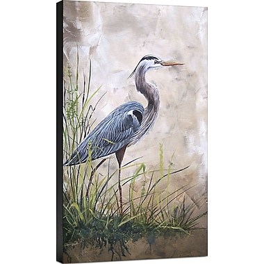 Ashton Wall D cor LLC 'Coastal In the Reeds-Blue Heron A' Painting Print on Wrapped Canvas