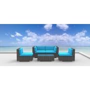 Urban Furnishings Rio 5 Piece Deep Seating Group w/ Cushion; Sea Blue