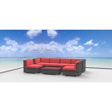 Urban Furnishings Mason 7 Piece Sectional Set w/ Cushions; Coral Red