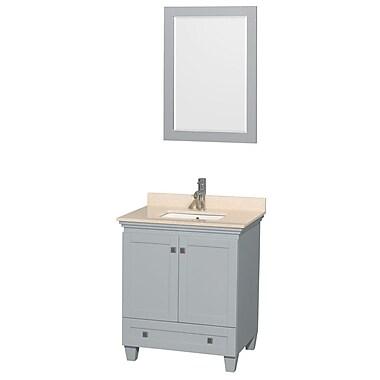 Wyndham Collection Acclaim 30'' Single Bathroom Vanity Set w/ Mirror; Ivory Marble