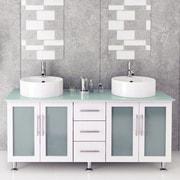 JWH Living Lune 59'' Double Vessel Modern Bathroom Vanity Set