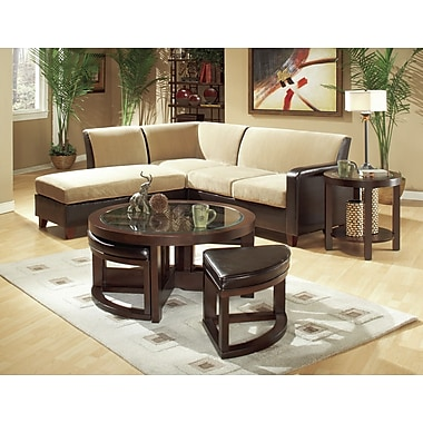 Woodhaven Hill 3219 Series Coffee Table w/ 4 Ottomans