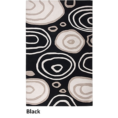 Rizzy Home Fusion Collection New Zealand Wool Blend 5'x8' Black (FUSFN007100060508)