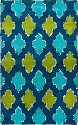 Rizzy Home Fusion Collection New Zealand Wool Blend 5'x8' Blue/Teal/Green (FUSFN224700090508)