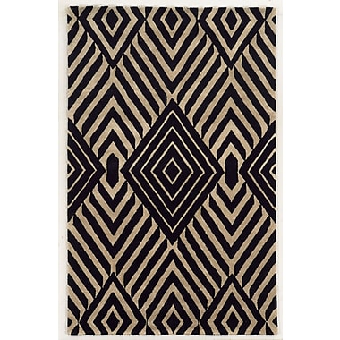 Rizzy Home Gillespie Avenue Collection Premium Blended Wool With Viscose Accents 3' x 5' Black (GSAGV863500060305)