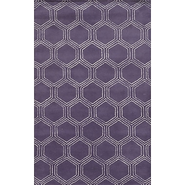 Rizzy Home Gillespie Avenue Collection Premium Blended Wool With Viscose Accents 5'x8' Purple (GSAGV8734PU000508)
