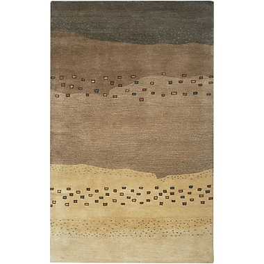 Rizzy Home Mojave Collection 100% Hard-Twist Wool 5'x8' Tan/Brown (MOJMV316400040508)