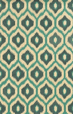 Rizzy Home Rockport Collection 100% Premium Blended Wool 5'x8' Blue/Teal/Dark Teal (RPTRP873700370508)