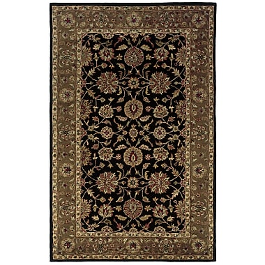 Rizzy Home Shine Collection 100% Semi-Worsted New Zealand Wool 3' x 5' Black, Brown (SHISN034506120305)