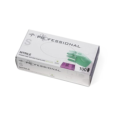 Medline Professional Nitrile Exam Gloves with Aloe - Small - 100/Box (PRO31761)
