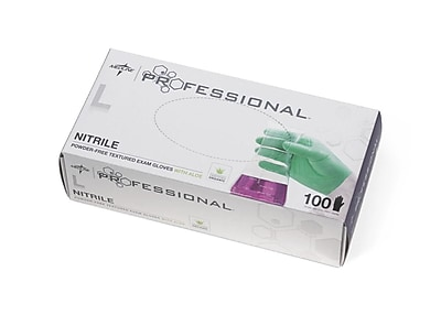Medline Professional Nitrile Exam Gloves with Aloe Large 100ct