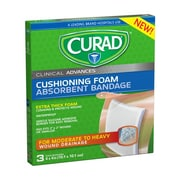 "CURAD® Cushioning Foam Absorbent Bandage, 4""X4"", 3 Count"