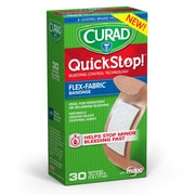 "CURAD® Quick Stop Flex-Fabric Bandages w/ M-doc, 0.75""x2.83"", 30 Count"