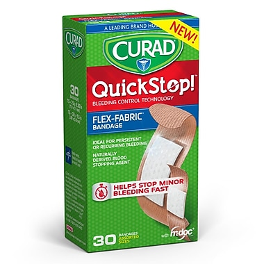 CURAD® Quick Stop Flex-Fabric Bandages w/ M-doc, Assorted, 30 Count