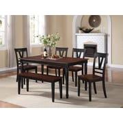 Infini Furnishings 6 Piece Dining Set; Slate Black