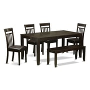 East West Lynfield 6 Piece Dining Set; Faux Leather