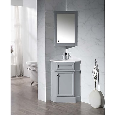 Home Loft Concepts 26.5'' Single Corner Bathroom Vanity Set w/ Mirror; Grey