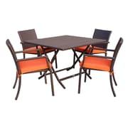 Jeco Inc. 5 Piece Dining Set w/ Cushion; Orange