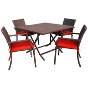 Jeco Inc. 5 Piece Dining Set w/ Cushion; Red