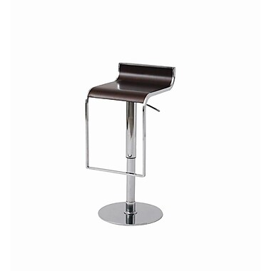 Nuevo Nero Adjustable Height Swivel Bar Stool; Dark Wood