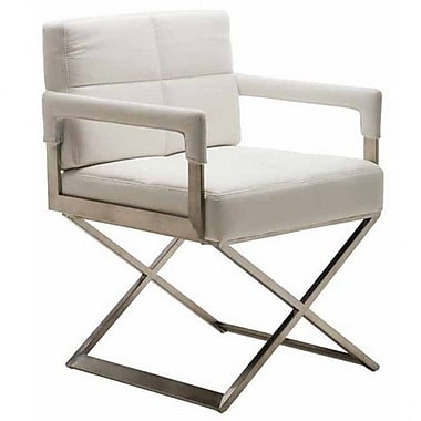 Nuevo Jack Genuine Leather Upholstered Dining Chair; White