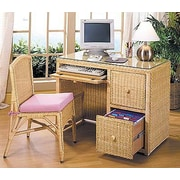 Wicker Warehouse 2-Piece Office Suite Computer Desk and Chair Set; Honey / Mauve