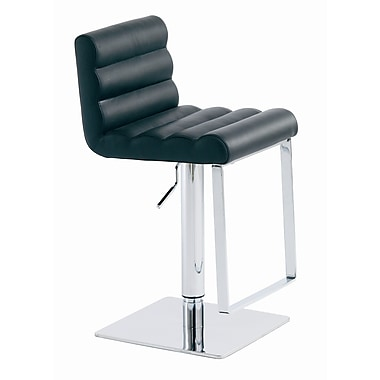 Nuevo Fanning Adjustable Height Swivel Bar Stool; Black