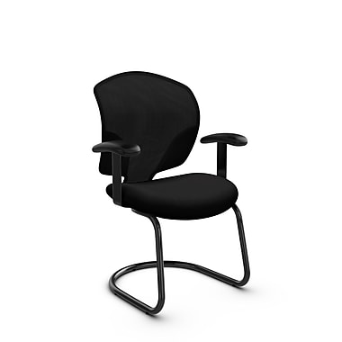 Global® (1953 IM84) Tye Guest & Reception Chair, Imprint Licorice Fabric, Black