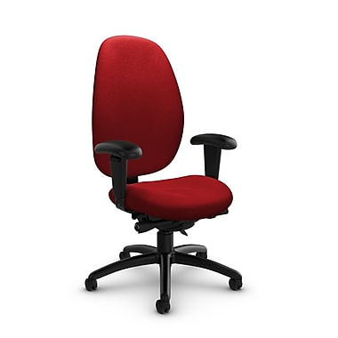 Global® (3140-0 IM74) Malaga High Back Synchro Tilter, Imprint Candy Apple Fabric, Red