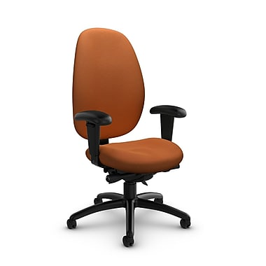 Global® (3140-0 IM81) Malaga High Back Synchro Tilter, Imprint Paprika Fabric, Orange