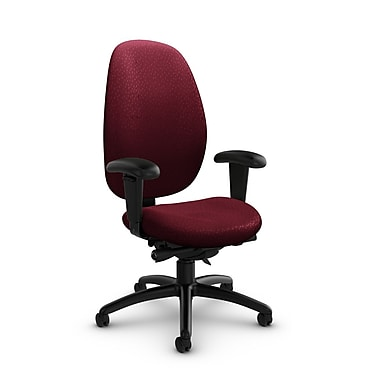 Global® (3140-0 MT29) Malaga High Back Synchro Tilter, Match Burgundy Fabric, Red