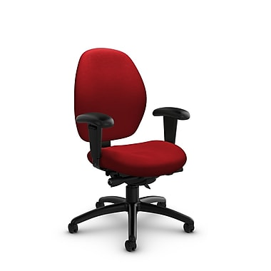 Global® (3141-0 IM74) Malaga Low Back Synchro Tilter, Imprint Candy Apple Fabric, Red