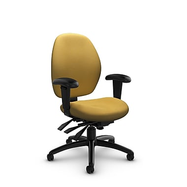 Global® (3141-3 IM73) Malaga Low Back Multi Tilter, Imprint Currie Fabric, Yellow