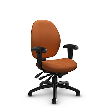 Global® (3141-3 IM81) Malaga Low Back Multi Tilter, Imprint Paprika Fabric, Orange