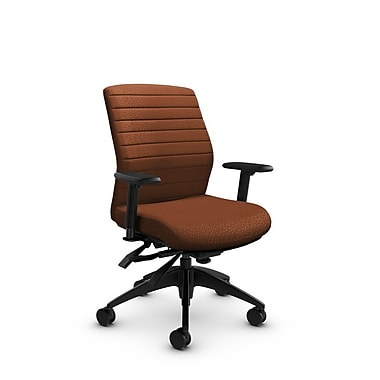 Global® (2852-3 MT24) Aspen Mid Back Multi Tilter, Match Sunset Fabric, Orange