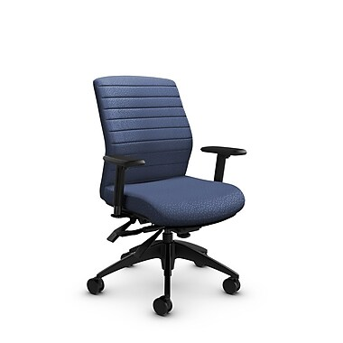 Global® (2852-3 MT25) Aspen Mid Back Multi Tilter, Match Blue Fabric, Blue