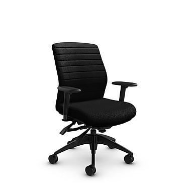 Global® (2852-3 MT32) Aspen Mid Back Multi Tilter, Match Black Fabric, Black