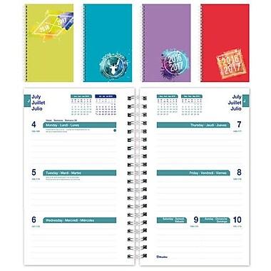 Blueline® - Agenda scolaire hebdomadaire 2016/2017, 8 po x 5 po, trilingue, couleurs unies variées