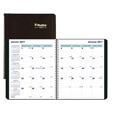 Blueline® – Planificateur mensuel 2016/2017, 9 1/4 po x 7 1/4 po, noir, bilingue