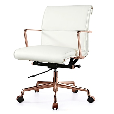 Meelano M347 Leather Executive Office Chair, Fixed Arms, White (347-RG-WHI) 2144748