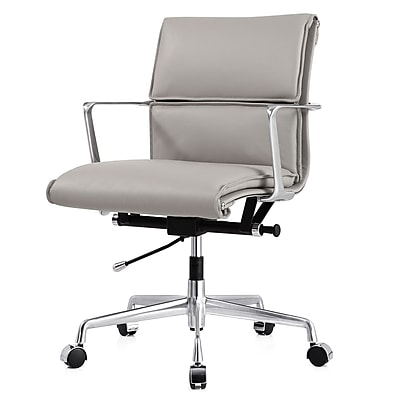 Meelano M347 Leather Executive Office Chair, Fixed Arms, Gray (347-GRY) 2144750